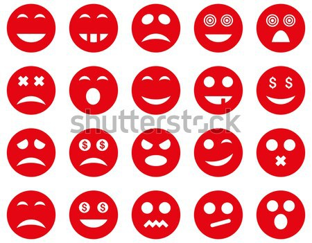Stockfoto: Glimlach · emotie · iconen · vector · ingesteld · stijl