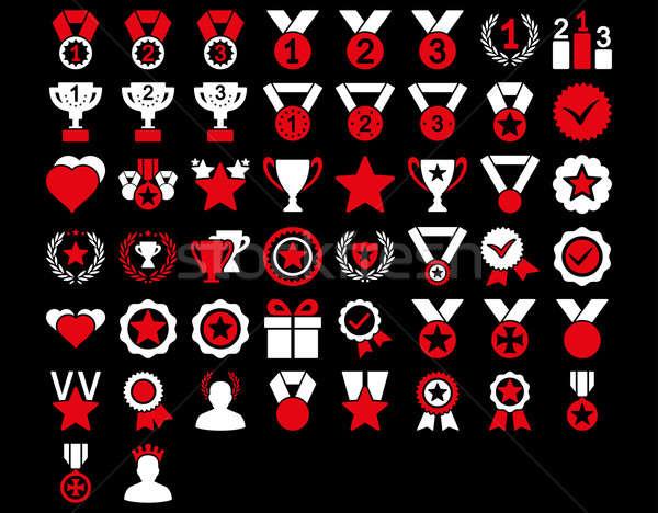 Verseny díjak ikonok piros fehér színek Stock fotó © ahasoft