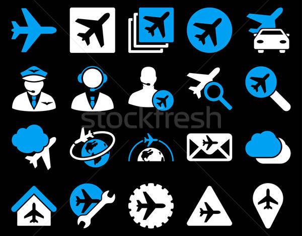 Zdjęcia stock: Lotnictwo · ikona · niebieski · biały · kolory