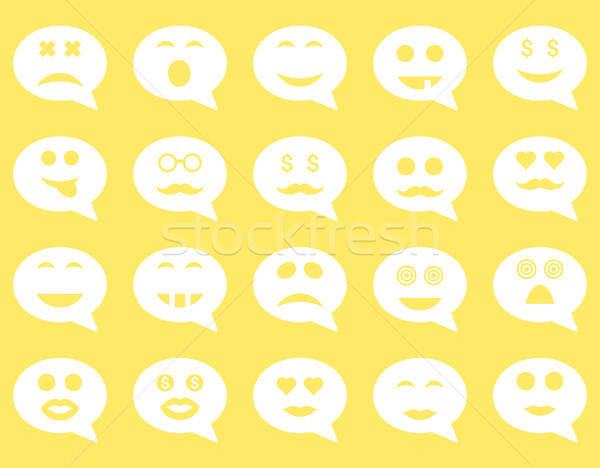 Stockfoto: Chat · emotie · glimlach · iconen · vector · ingesteld