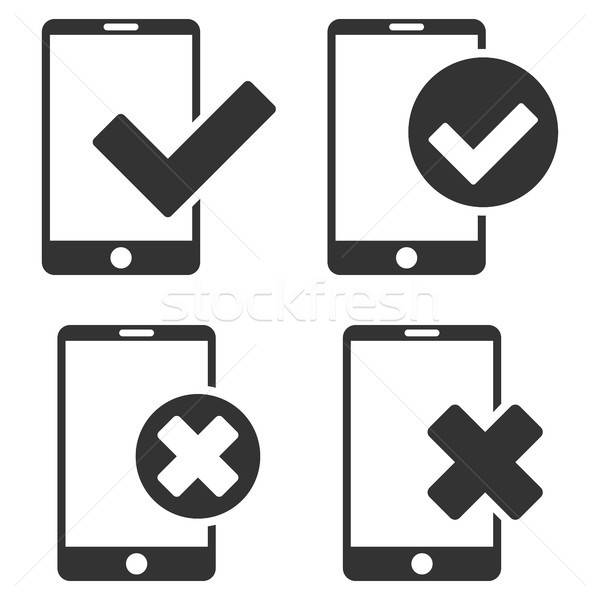 Apply And Reject Smartphone Vector Flat Icon Set Stock photo © ahasoft