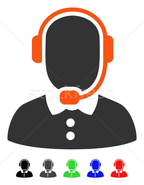 Call Center Operator Flat Icon Stock photo © ahasoft
