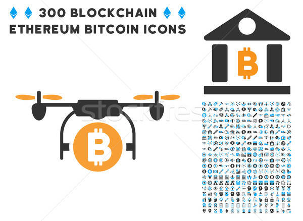 Bitcoin Copter Flat Icon with Set Stock photo © ahasoft