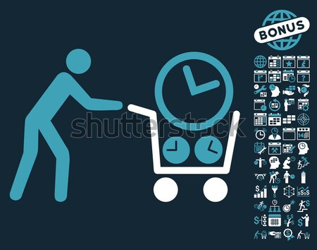 Ethereum Shopping Cart Flat Icon with Set Stock photo © ahasoft