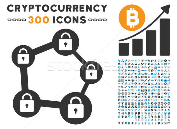 Blockchain Network Flat Icon with Set Stock photo © ahasoft