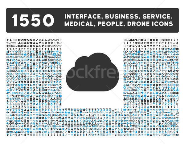 雲のアイコン もっと インターフェース ビジネス ツール 人 ストックフォト © ahasoft