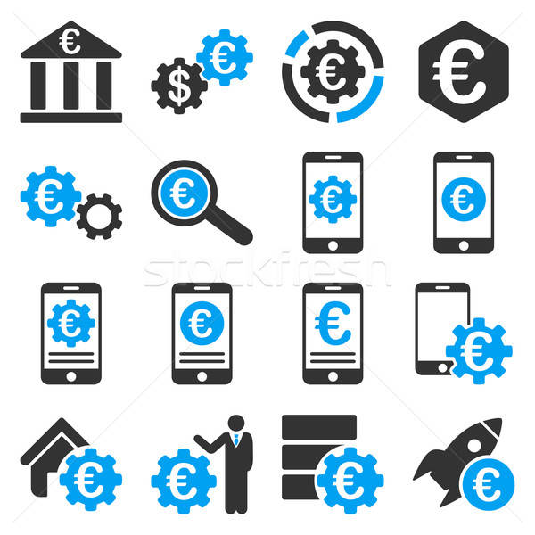 Euro bancaire business dienst tools iconen Stockfoto © ahasoft