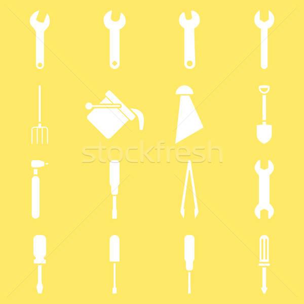 Tools vector stijl symbolen witte Stockfoto © ahasoft