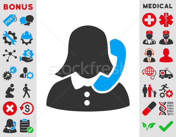 Receptionist icon vector stijl symbool Blauw Stockfoto © ahasoft
