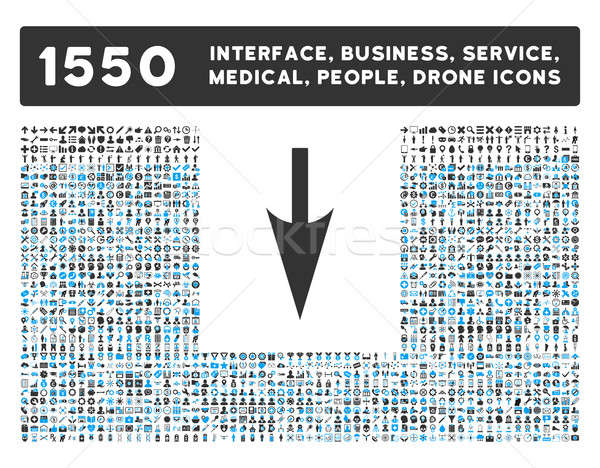 Sharp Down Arrow Icon and More Interface, Business, Tools, People, Medical, Awards Flat Glyph Icons Stock photo © ahasoft