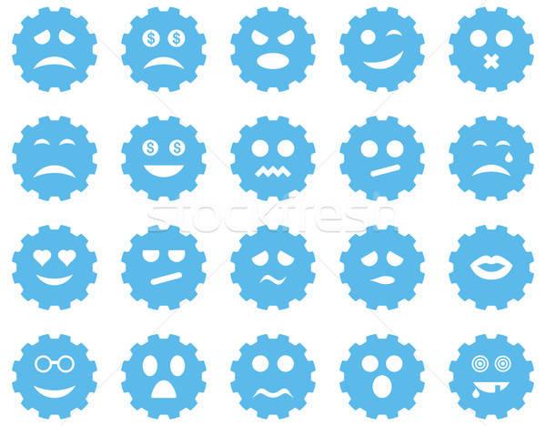 Stockfoto: Versnelling · emotie · iconen · vector · ingesteld · stijl