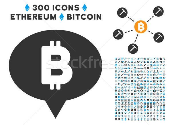 Bitcoin szalag léggömb ikon gyűjtemény okos szerződés Stock fotó © ahasoft