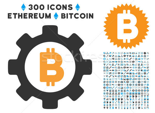 Stockfoto: Bitcoin · versnelling · icon · collectie · smart · contract