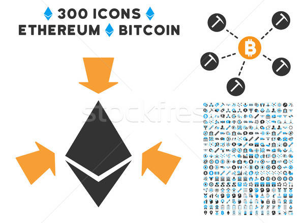 Ethereum Collect Arrows Flat Icon with Set Stock photo © ahasoft
