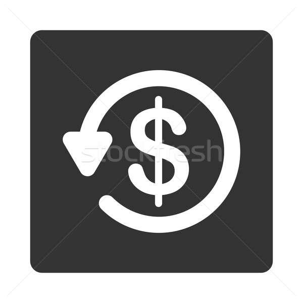 Viszzafizetés ikon tér gomb fehér szürke Stock fotó © ahasoft