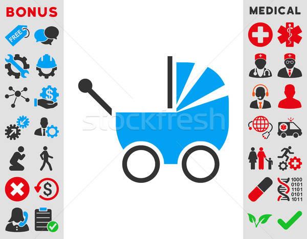 Babakocsi ikon vektor stílus szimbólum kék Stock fotó © ahasoft