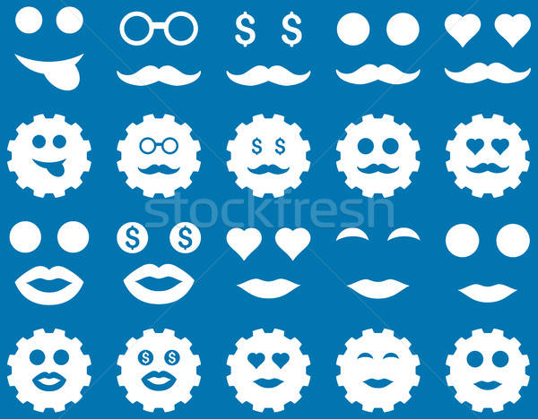 Gear and emotion icons Stock photo © ahasoft