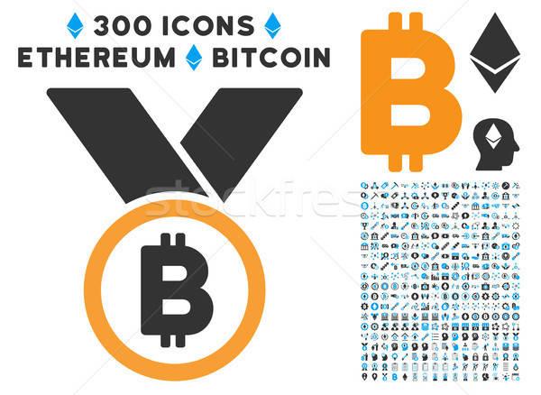 Bitcoin érem szalagok ikon clip art okos Stock fotó © ahasoft