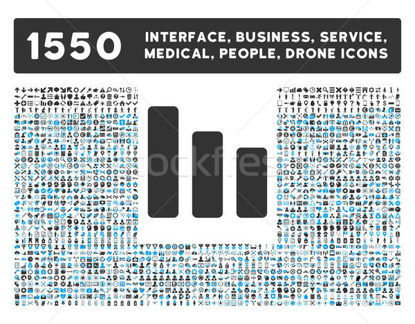 Oszlopdiagram csökkenés ikon több interfész üzlet Stock fotó © ahasoft