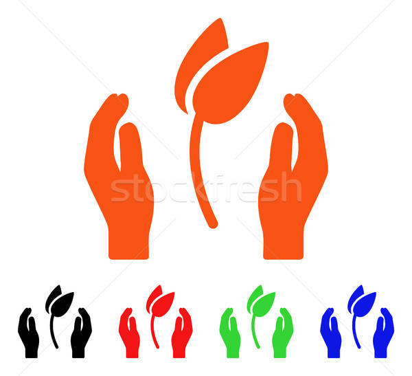 Sprout Care Hands Vector Icon Stock photo © ahasoft