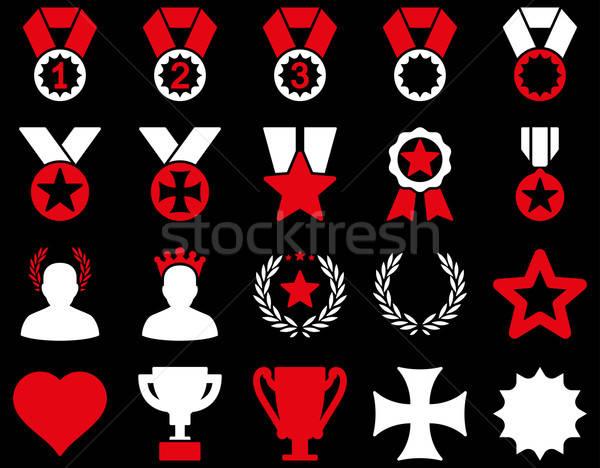 Foto stock: Competição · sucesso · ícones · vermelho · branco