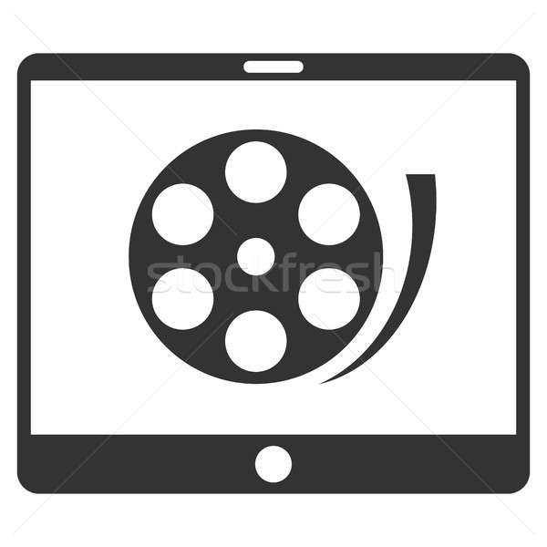 Téléphone vidéo bobine icône gris symbole Photo stock © ahasoft
