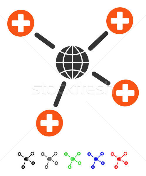 Global Medical Links Flat Icon Stock photo © ahasoft