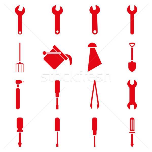 Stok fotoğraf: Araçları · vektör · stil · semboller · kırmızı