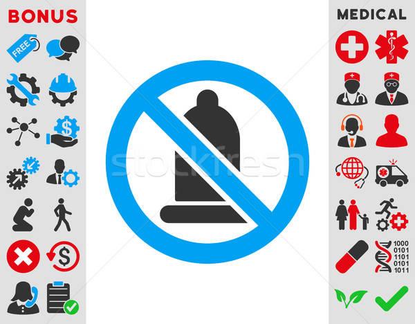 Verboden condoom icon vector stijl symbool Stockfoto © ahasoft
