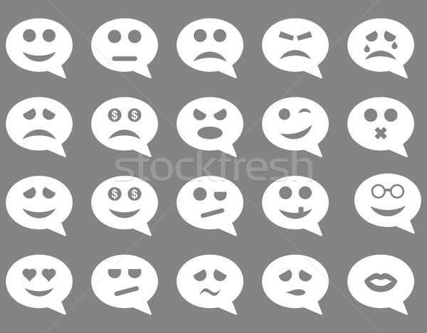 Chat érzelem mosoly ikonok szett stílus Stock fotó © ahasoft