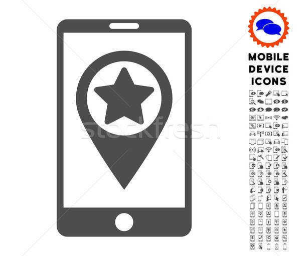 Smartphone Map Pointer Icon with Set Stock photo © ahasoft