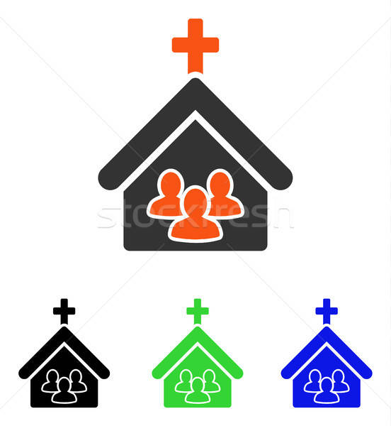 Templom emberek vektor ikon illusztráció stílus Stock fotó © ahasoft