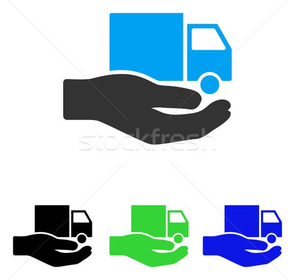 Furgon házhozszállítás szolgáltatás kéz vektor ikon Stock fotó © ahasoft
