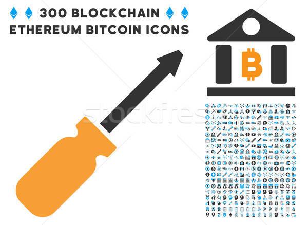 Tournevis icône bitcoin puce contrat Photo stock © ahasoft