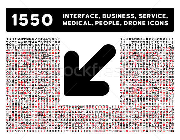 Arrow Down Left Icon and More Interface, Business, Tools, People, Medical, Awards Flat Glyph Icons Stock photo © ahasoft