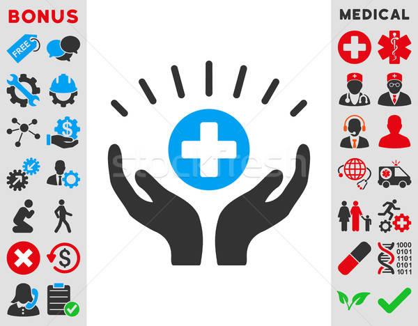 Médicos icono vector estilo símbolo azul Foto stock © ahasoft