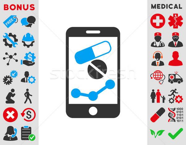 Gyógyszertár online jelentés ikon vektor stílus Stock fotó © ahasoft
