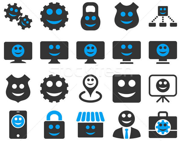 Foto stock: Ferramentas · engrenagens · smiles · ícones · conjunto · estilo