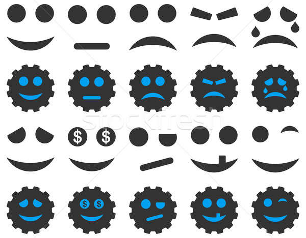 Stock photo: Tools, gears, smiles, emoticons icons