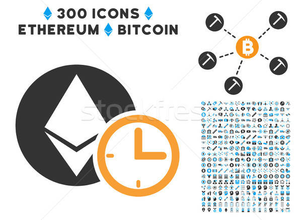 Ethereum Credit Time Flat Icon with Set Stock photo © ahasoft