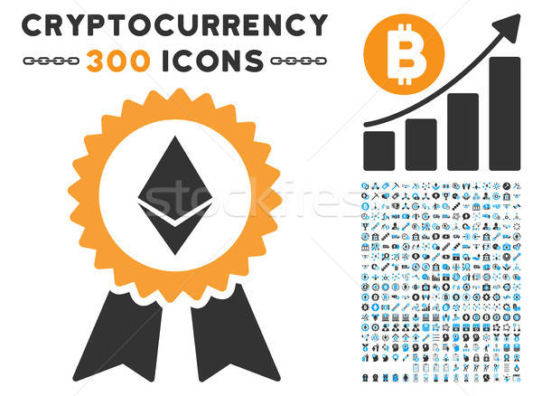 Ethereum Award Seal Flat Icon with Stock photo © ahasoft