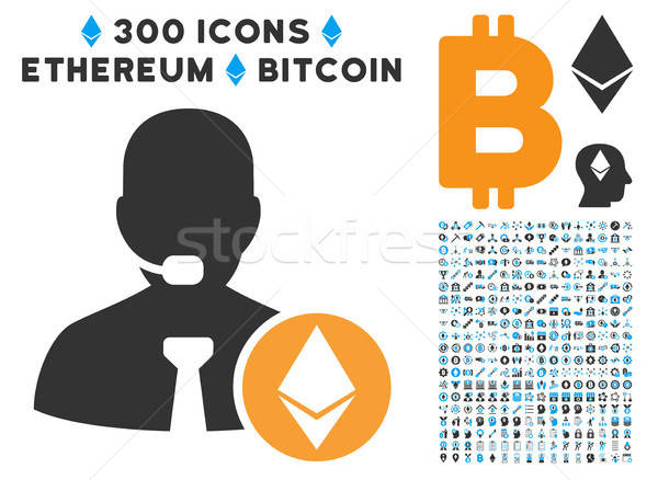 Ethereum Operator Manager Flat Icon with Clip Art Stock photo © ahasoft