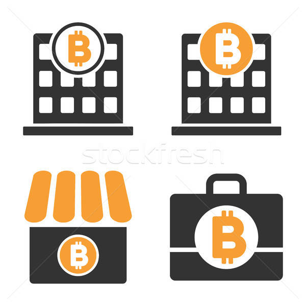 Bitcoin Bank Vector Icon Set Stock photo © ahasoft