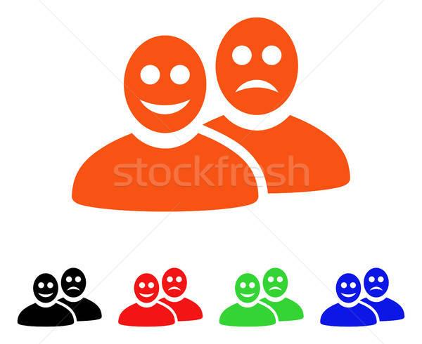 Blij triest mensen vector icon stijl Stockfoto © ahasoft