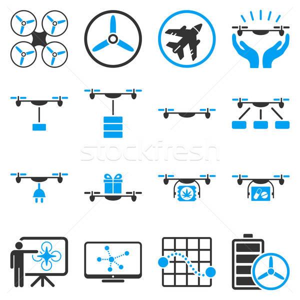 Drone shipment icon set Stock photo © ahasoft