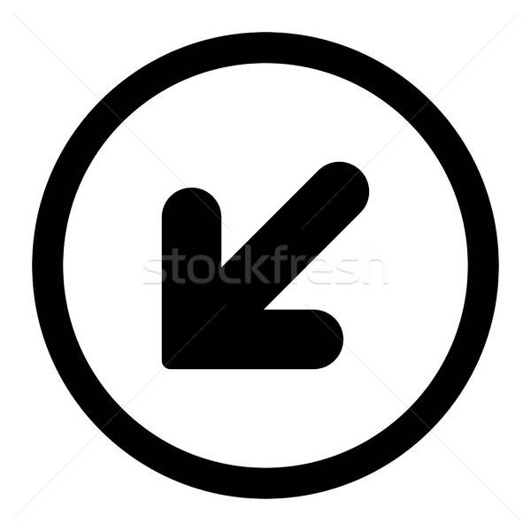 Arrow Down Left flat black color rounded vector icon Stock photo © ahasoft