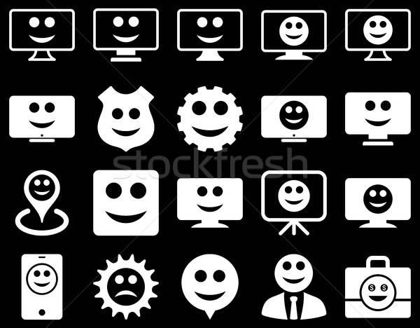 Stockfoto: Tools · versnellingen · glimlacht · iconen · vector · ingesteld