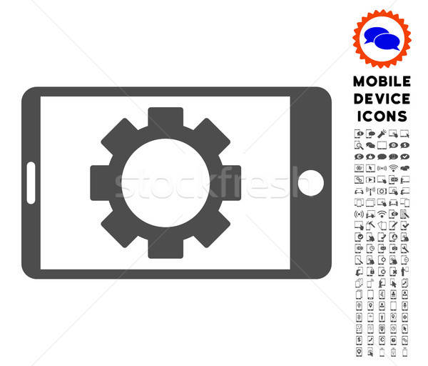 Mobil beállítások viselet ikon gyűjtemény ikon szett Stock fotó © ahasoft