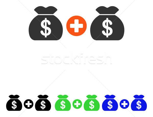 Add Money Bags Flat Vector Icon Stock photo © ahasoft