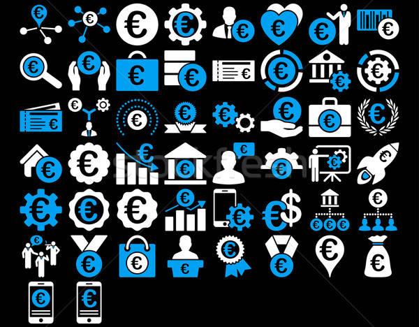 Euro działalności ikona niebieski biały kolory Zdjęcia stock © ahasoft